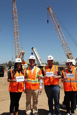 Students tour a construction site for the California High Speed Rail project